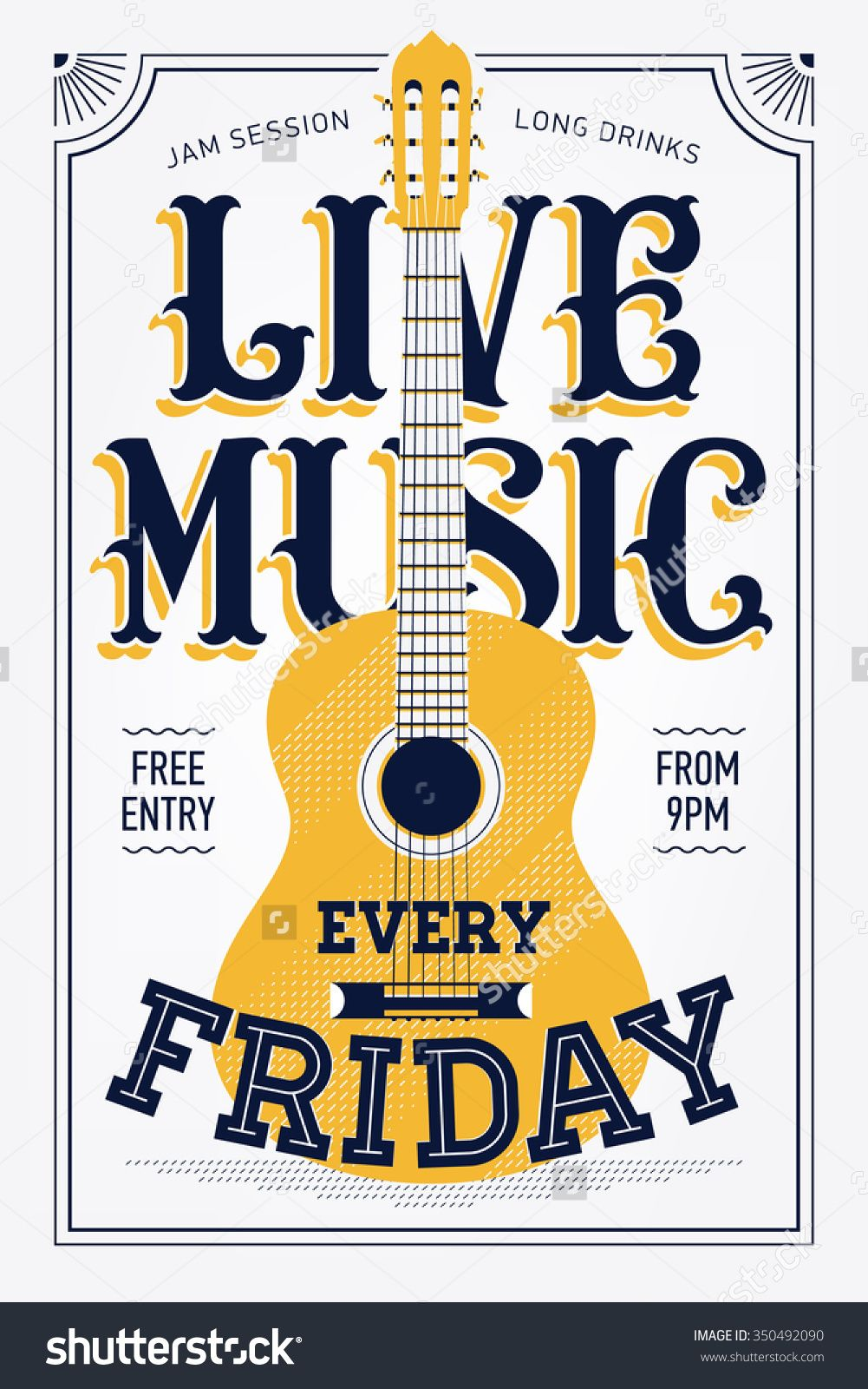 Vintage Live Music Every Friday Vector Poster Template. Ideal For ...