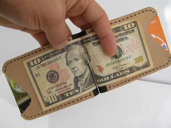 Men's Leather Wallet Slim Money Clip Wallet Handmade by HandmadeEK, $38.90