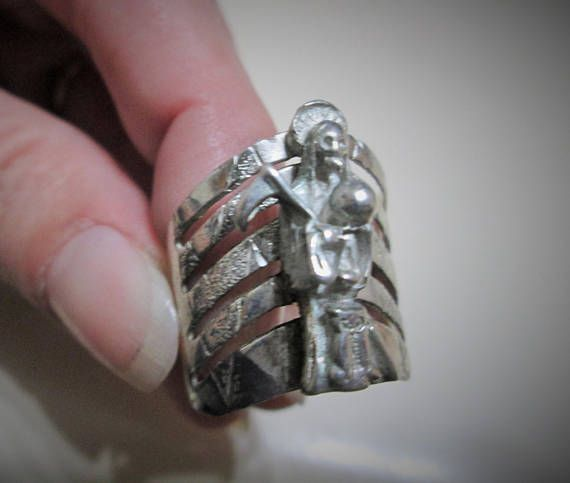 Vintage Grim Reaper Muerte Owl Sterling Silver Ring Mexico