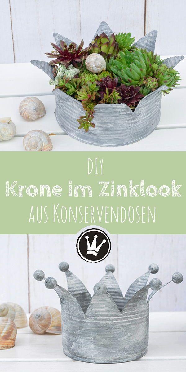 Upcycling-Idee: Verwandle Konservendosen in Kronen im Vintage-Look #dekofrühling