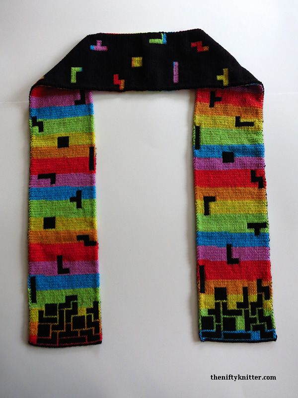 Blockalicious Double-Knit Tetris Prism Scarf – Pattern By The Nifty ...