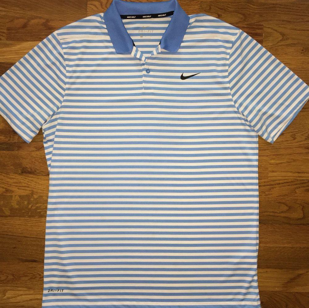 Men S Nike Golf Dri Fit Light Blue White Striped Polo Shirt Size Large Fashion Clothing Shoes Accessories Menscloth Striped Polo Shirt Nike Men Shirt Size