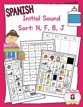 Beginning Sound Recognition Initial Sound Word Sort N F B J Spanish Initial Sounds Word Sorts Sound Words