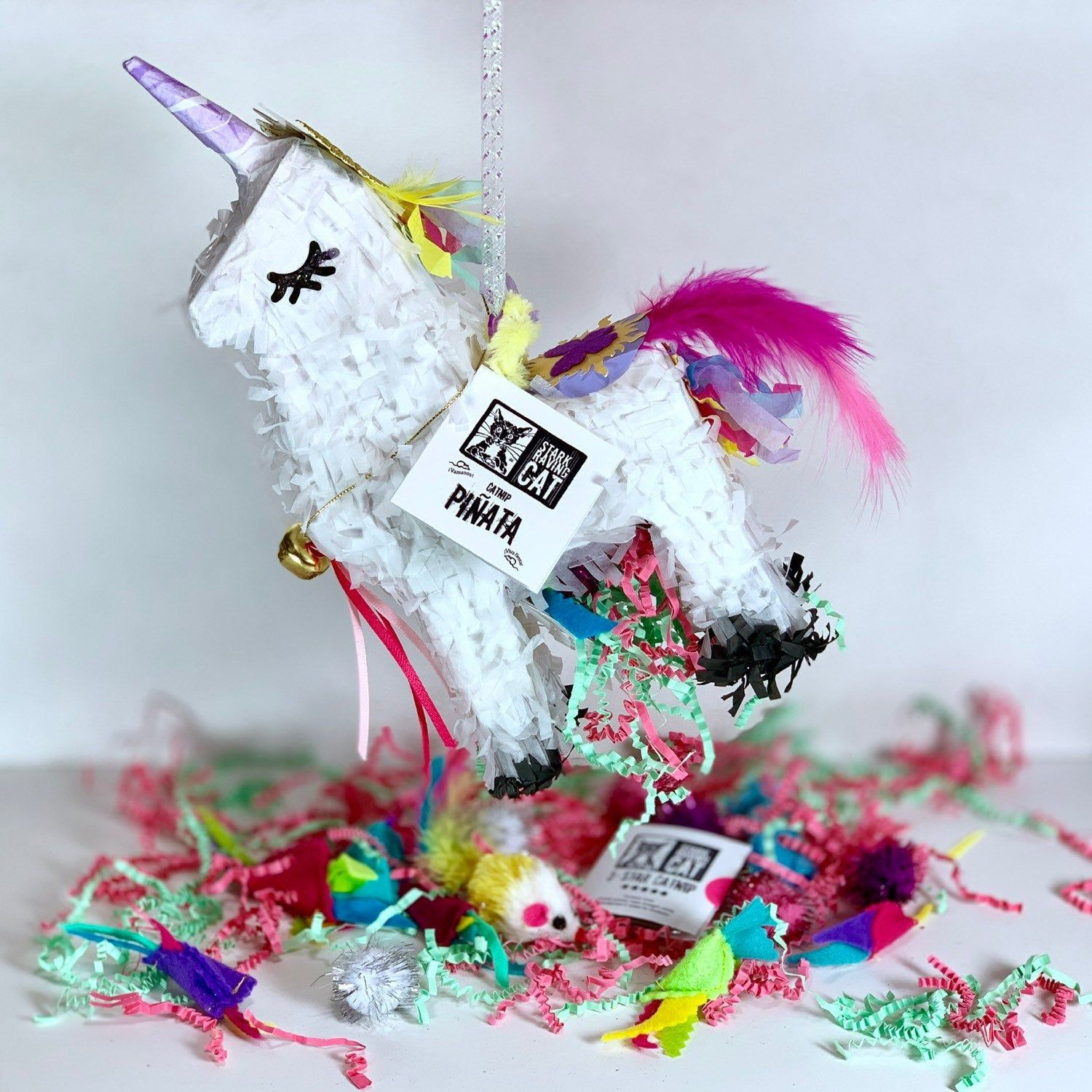 Unicorn Piñata for Cats, with Catnip Toys and FREE Party Hat