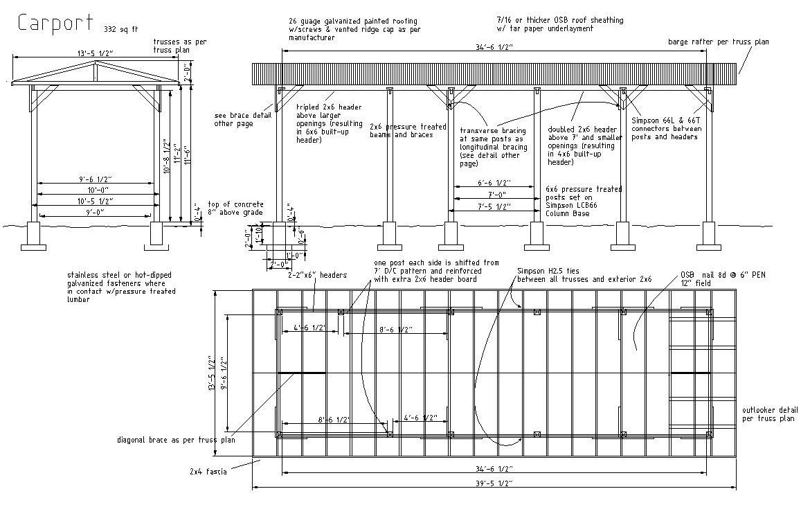 Plans for a carport carport plans are shelters typically for Attached carport plans free