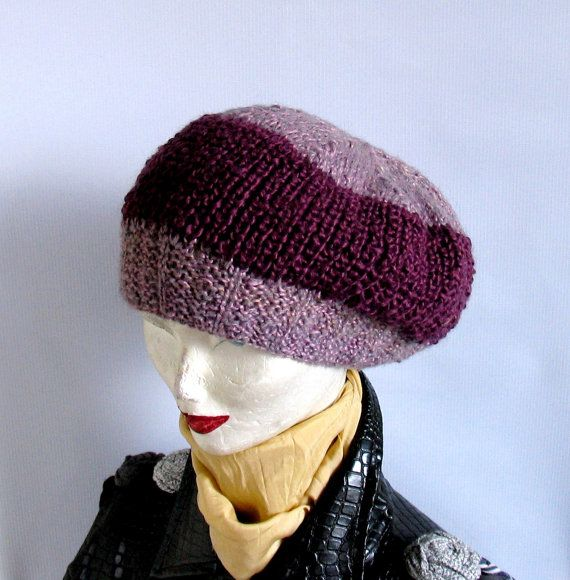 SALE Knitted Slouchy  Bret Oversized Purple Beanie hat by vintachi, $20.00