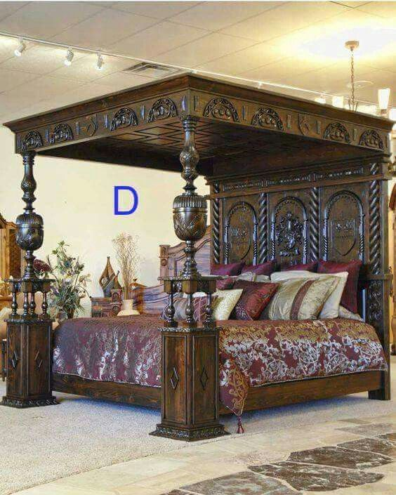 Antique Ornate Bed Wood Signs Home Decor Home Decor Luxurious Bedrooms