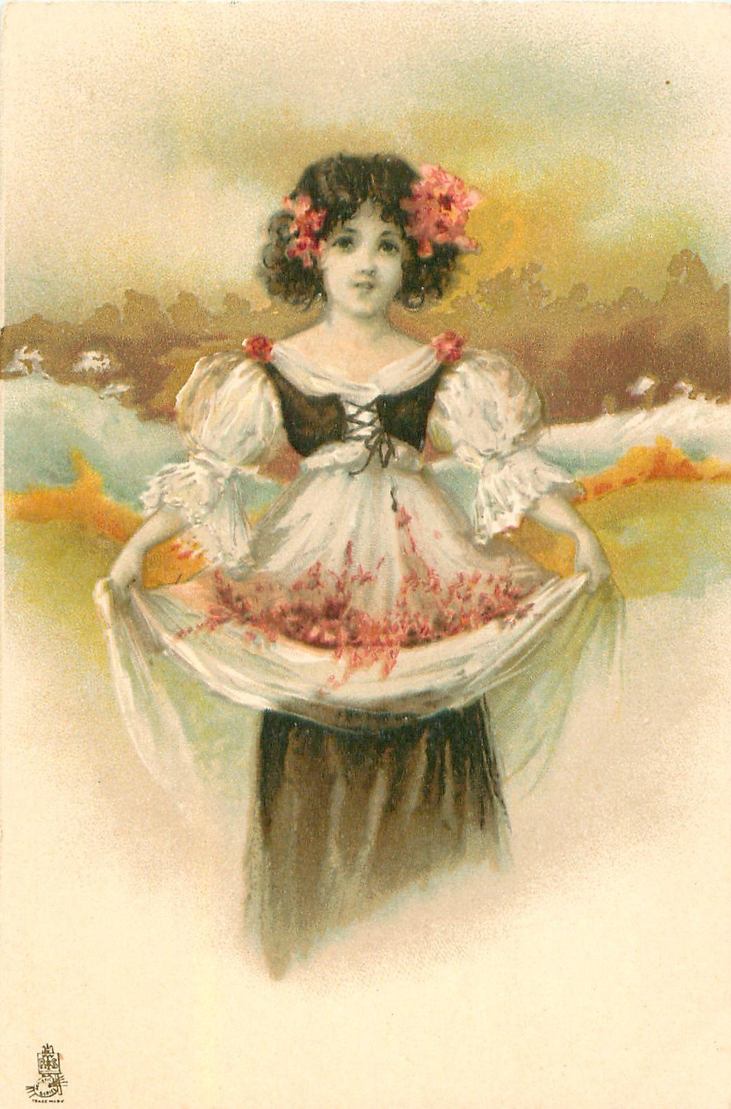 Girl in white dress black topholds flowers in skirt flowers in