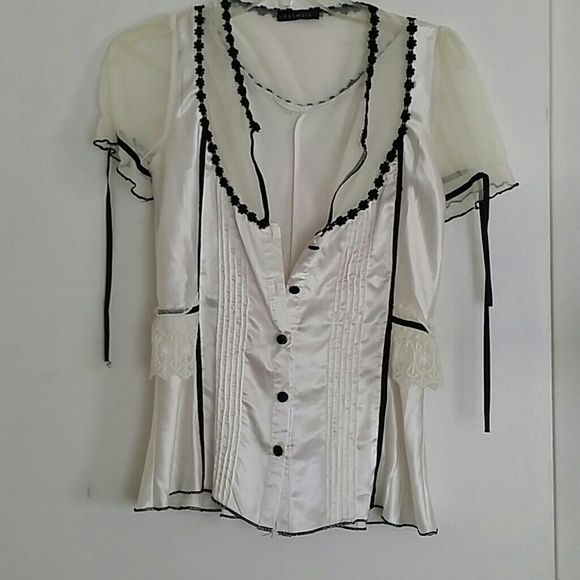 White silky lace blouse by katwalk size S Gorgeous top. White silky and lace like a bridal blouse by katwalk sz S.  DO NOT buy from ME if you are wanting to complain. My pictures look exactly like my listings! If their is anything wrong I will list it. We work hard to work with you to get the clothing to you on time! If you have any questions just ASK before you BUY! Thank you. katwalk Tops Blouses