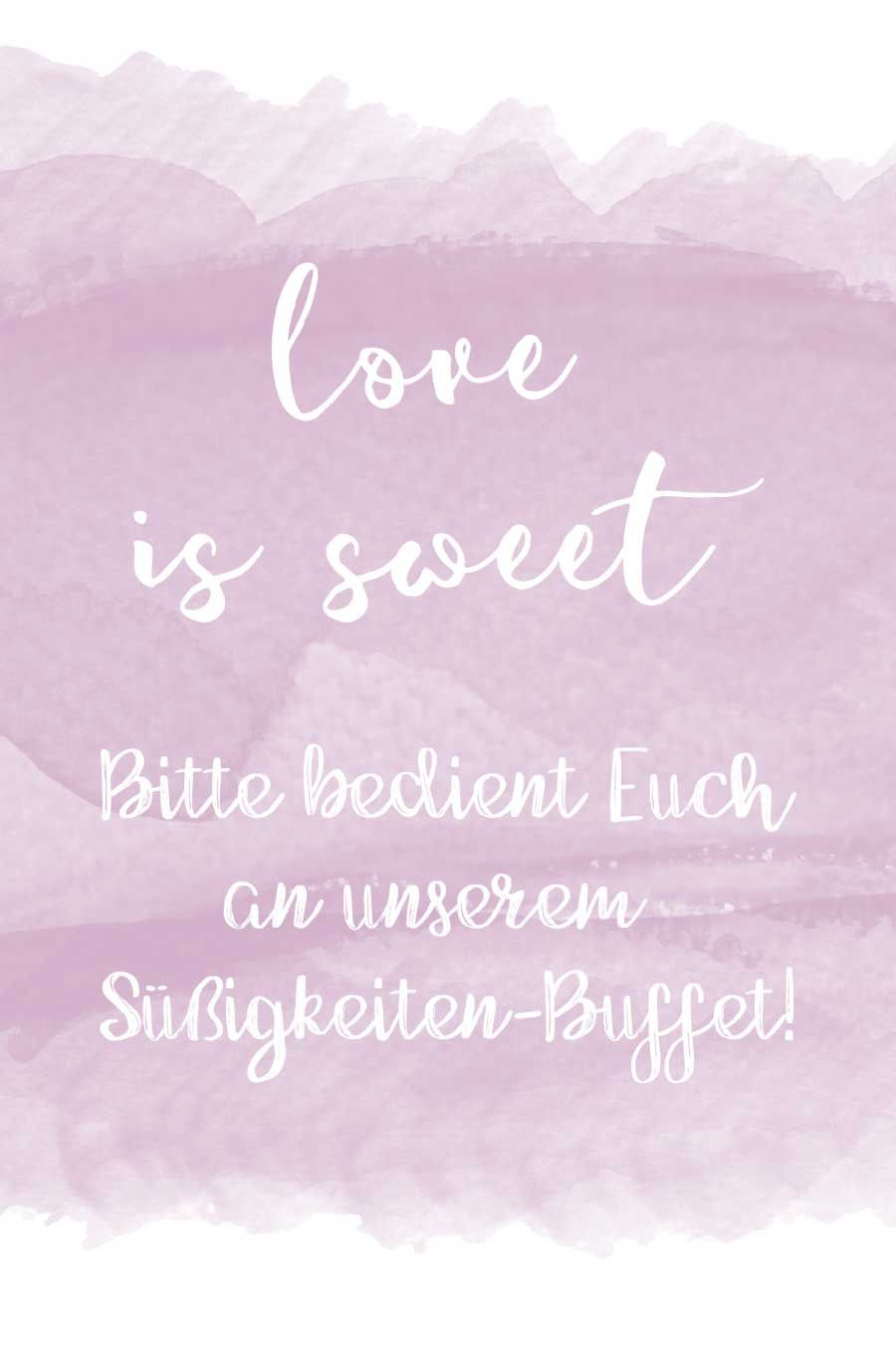 Love is sweet Schild fr eure Candybar  Sweet Table