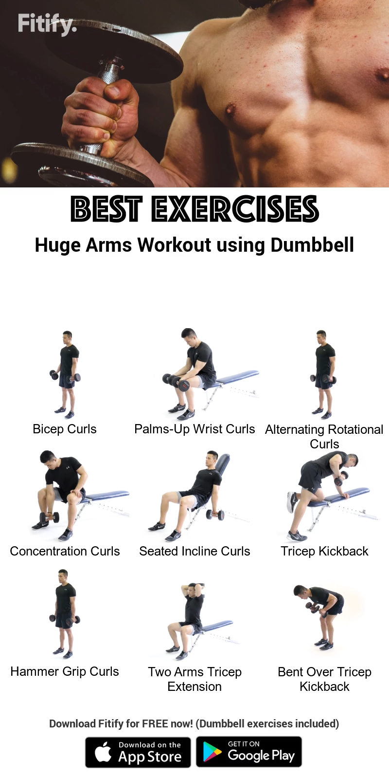 Dumbbell Arms Workout by Fitify #dumbbellexercises