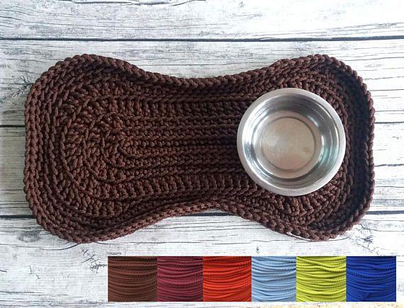 Size M Crochet Bone Feeding Mat Placemat For Dog Cat Pet Pet Supplies Crochet Dog Pet Vacuum Dog Gifts