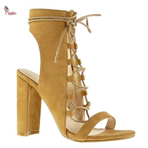 cdeee9b086a7b Angkorly - Chaussure Mode Sandale Bottine ouverte sexy femme lacets  multi-bride Talon haut bloc