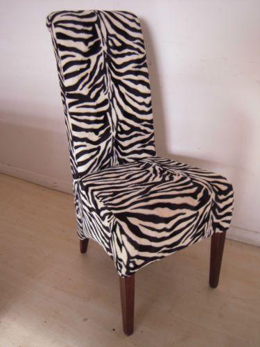 4 Zebra Print Dining Chairs Set Kitchen Restaurant Animal Print