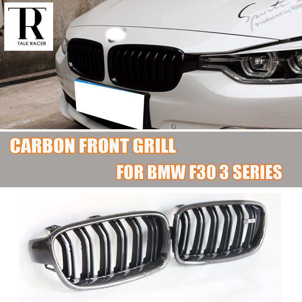 2 Slat Style F30 Carbon Abs Black Front Grill Grille For Bmw F30