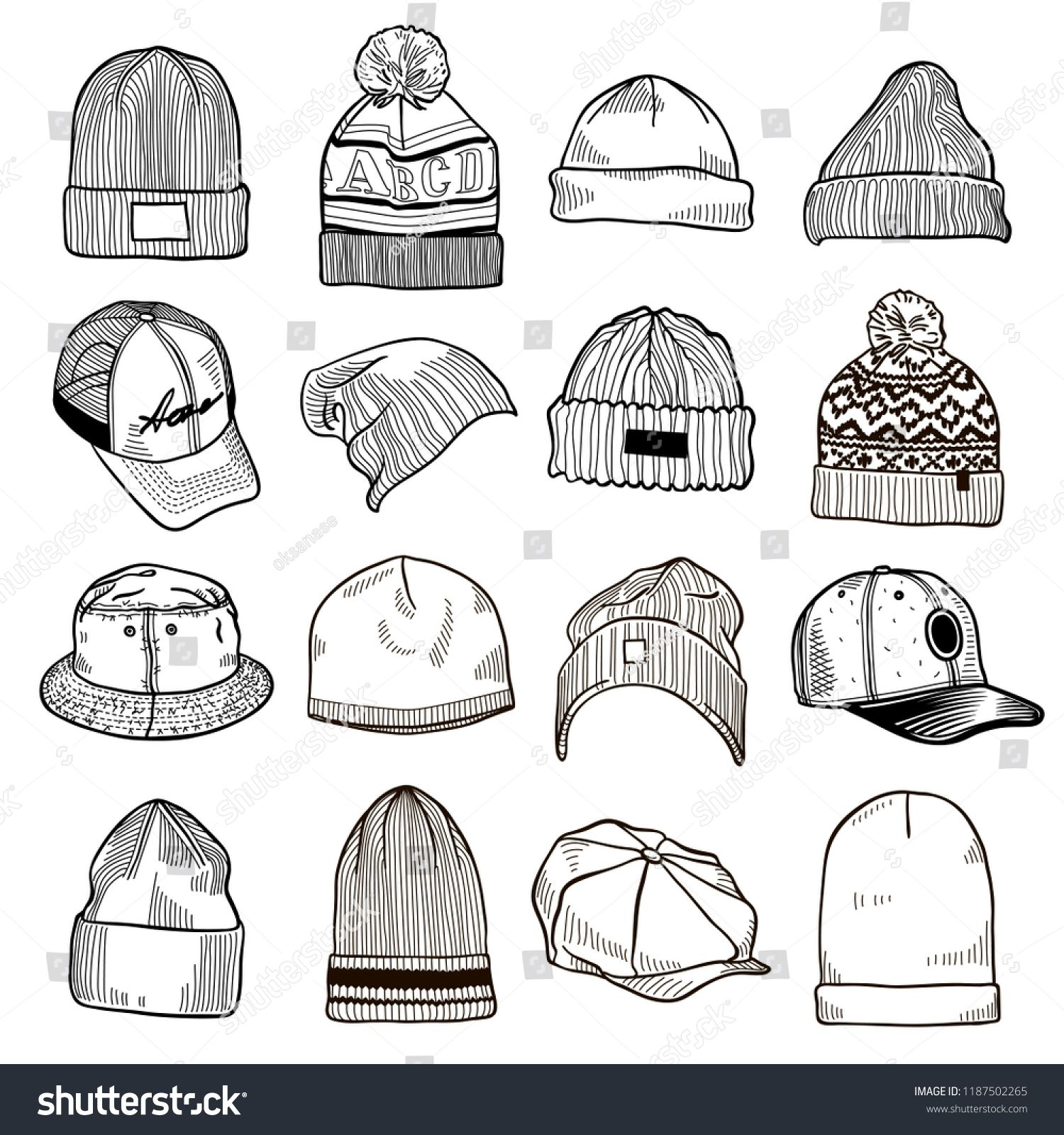 Set Of Fashion Men S Caps And Hats Sketches Baseball Caps Snap Back Cap Trucker Cap Baker Boy Cap Knitted H Drawing Anime Clothes Drawing Clothes Sketches