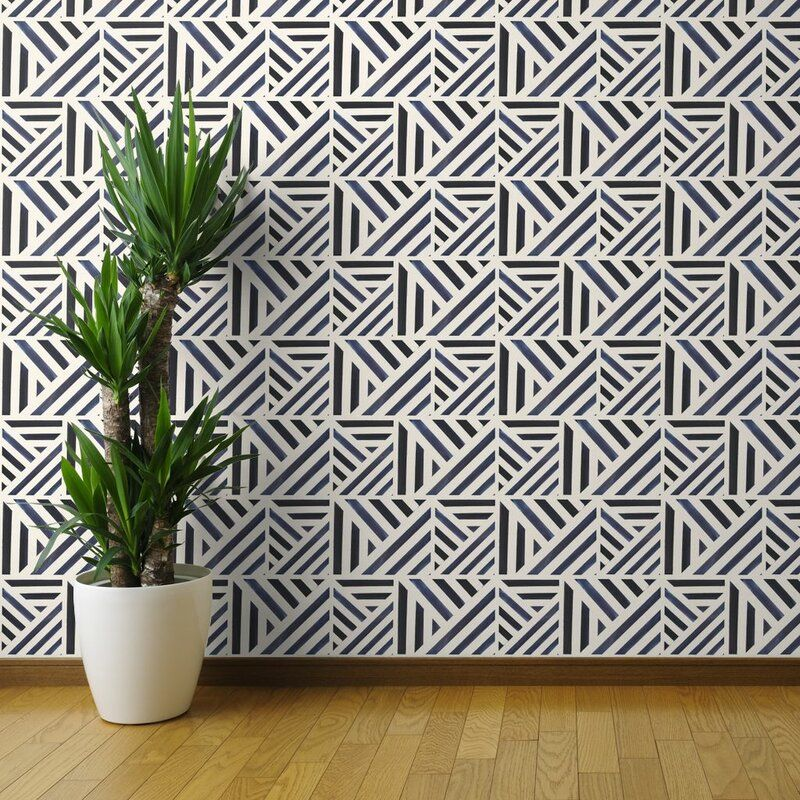 Ebern Designs Ardale Geometric Removable Peel And Stick Wallpaper Roll Wayfair Black And White Wallpaper Brick Wallpaper Roll Wallpaper Roll