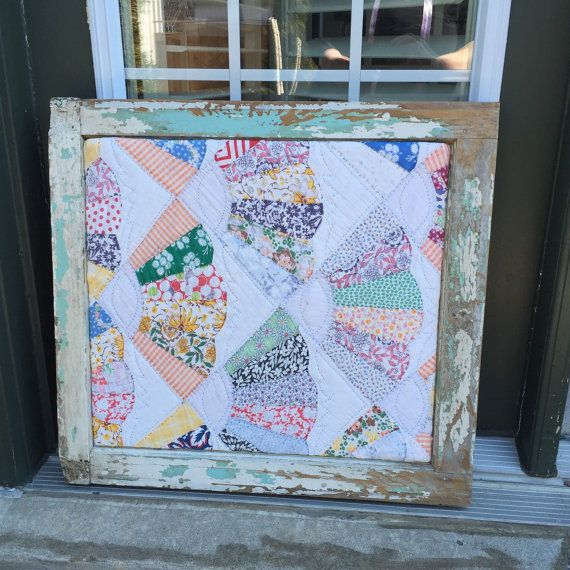 Best Ways To Redecorate With Green: Antique Distressed Window Framed Quilt Hand Sewn Quilt