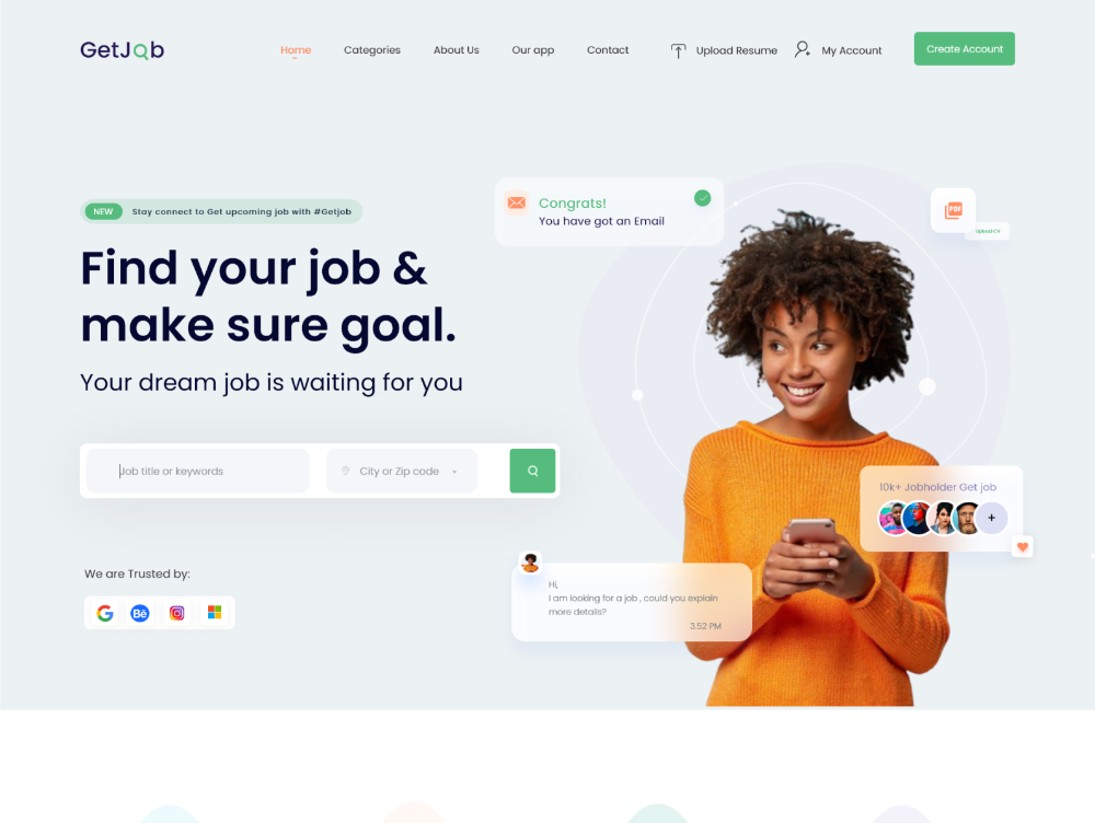 Job Finder Web Exploration In 2020 Marketing Jobs Job Web Design