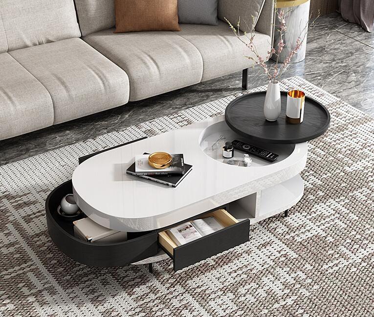 Modern Simple Tea Tray Small Family Personality Black And White Tea Table Combination Furniture Creative Fashion Coffee Table Shelf Decor Living Room Furniture