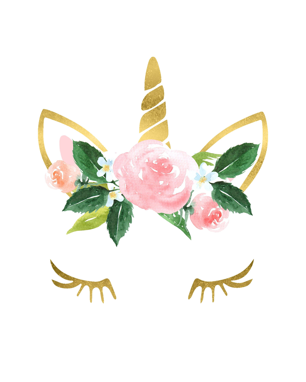 Gold Unicorn Flower Crown Nursery Girls Room Printable