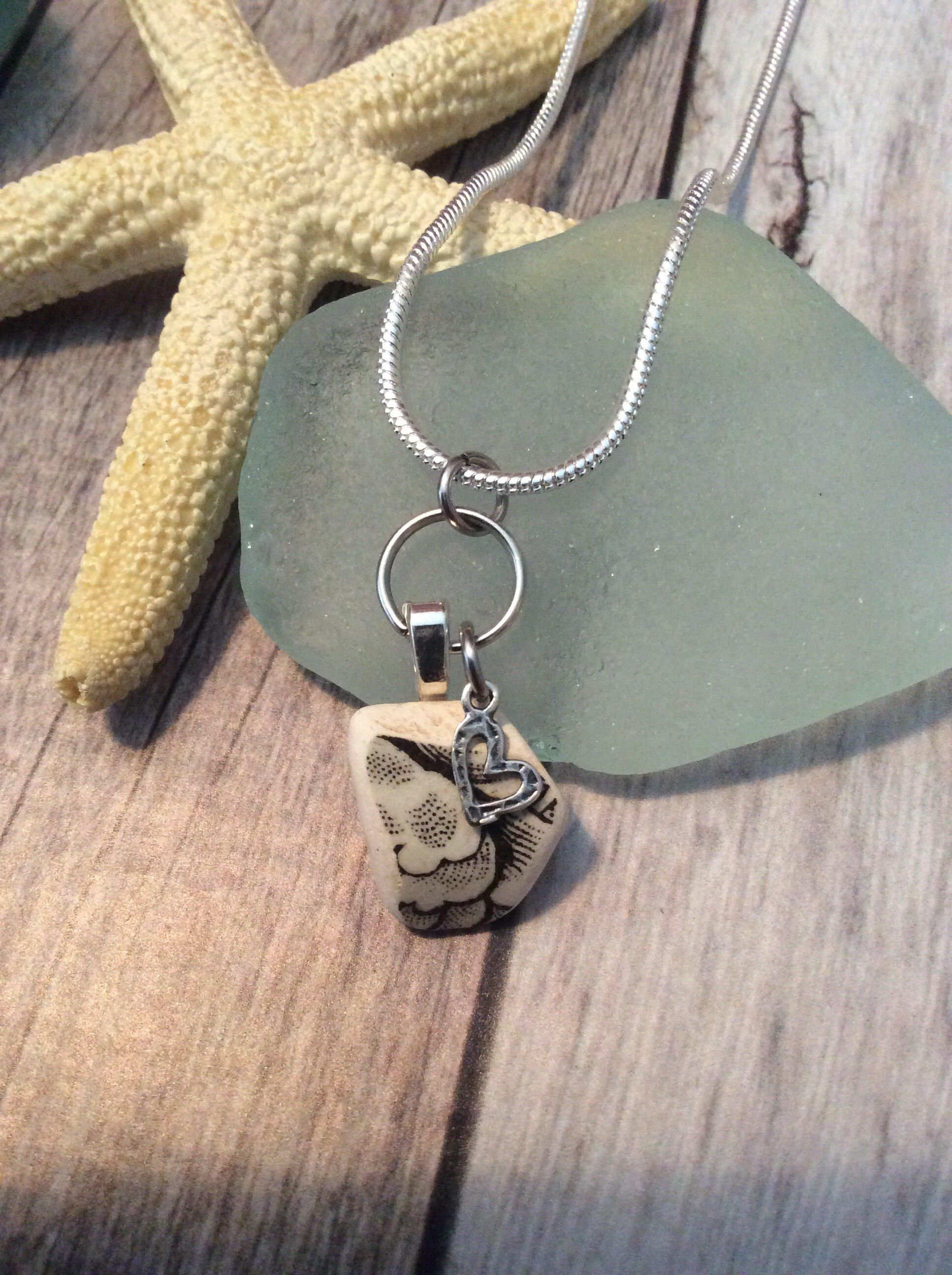Pottery Shard  / Sea Glass Necklace by JNsArtnTreasures on Etsy https://www.etsy.com/listing/567083097/pottery-shard-sea-glass-necklace