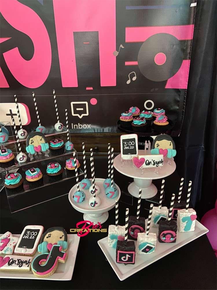 Tiktok Inspired Theme Birthday Party Ideas Photo 8 Of 27 Birthday Surprise Party Birthday Party Treats Birthday Party Set