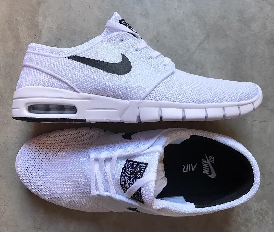 Nike Zoom Stefan Janoski Max SB White Black size 8.5 (# 631303-100)