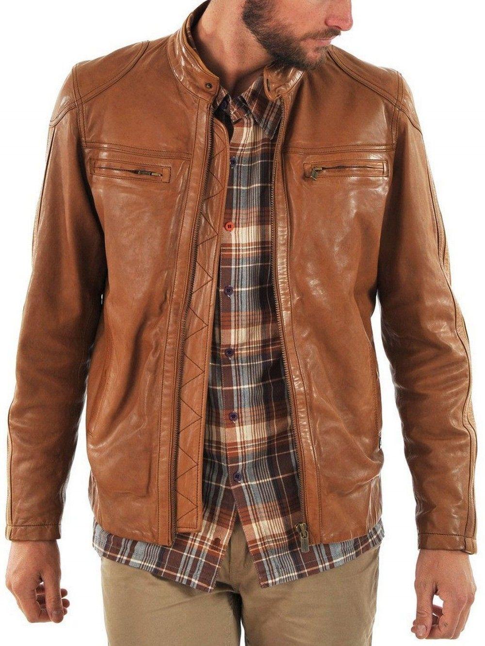 Mens New Genuine Lambskin Leather Designer Mens Motorcycle