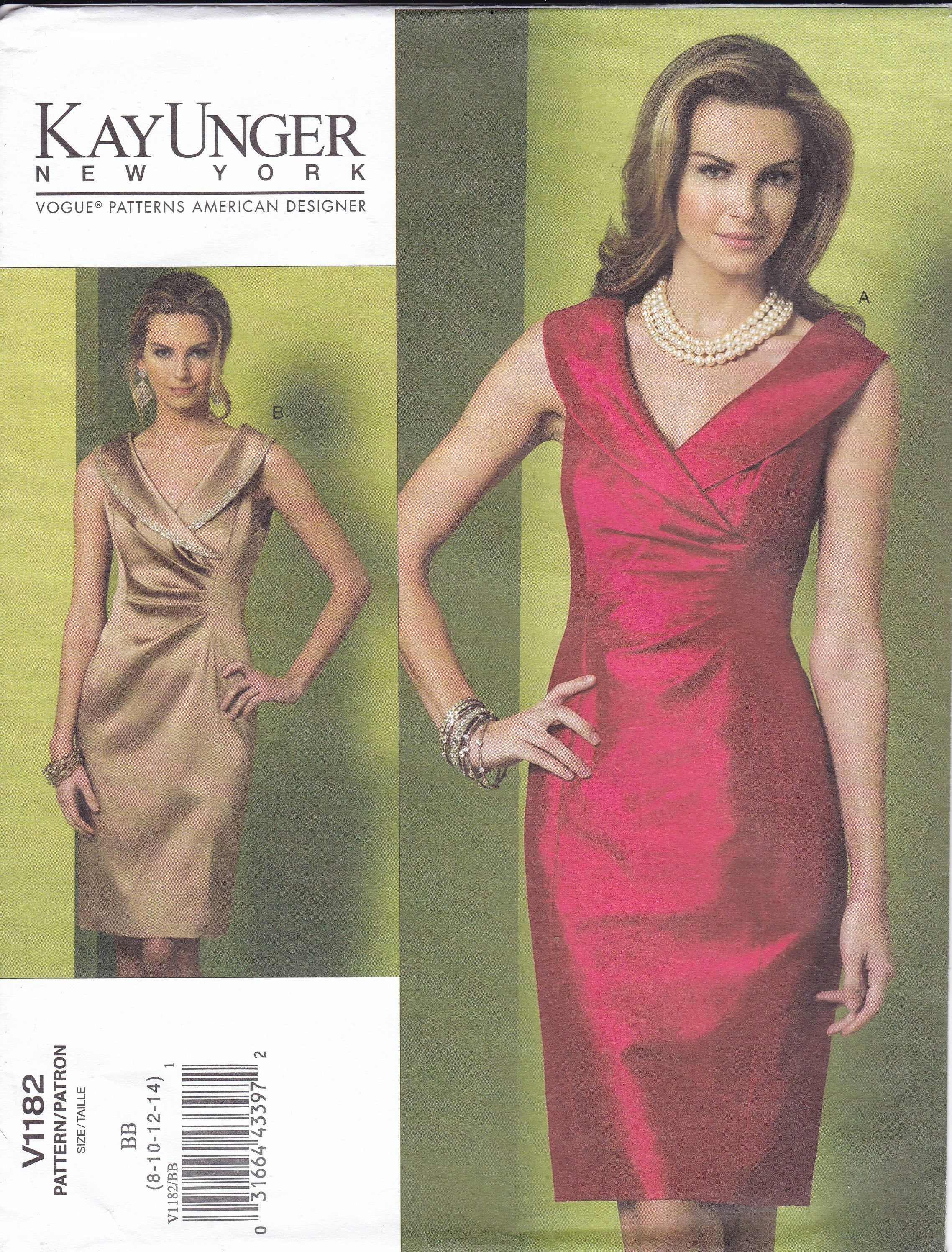 Sewing Pattern Vogue 1182 Kay Unger Uncut Cocktail Dress 2010