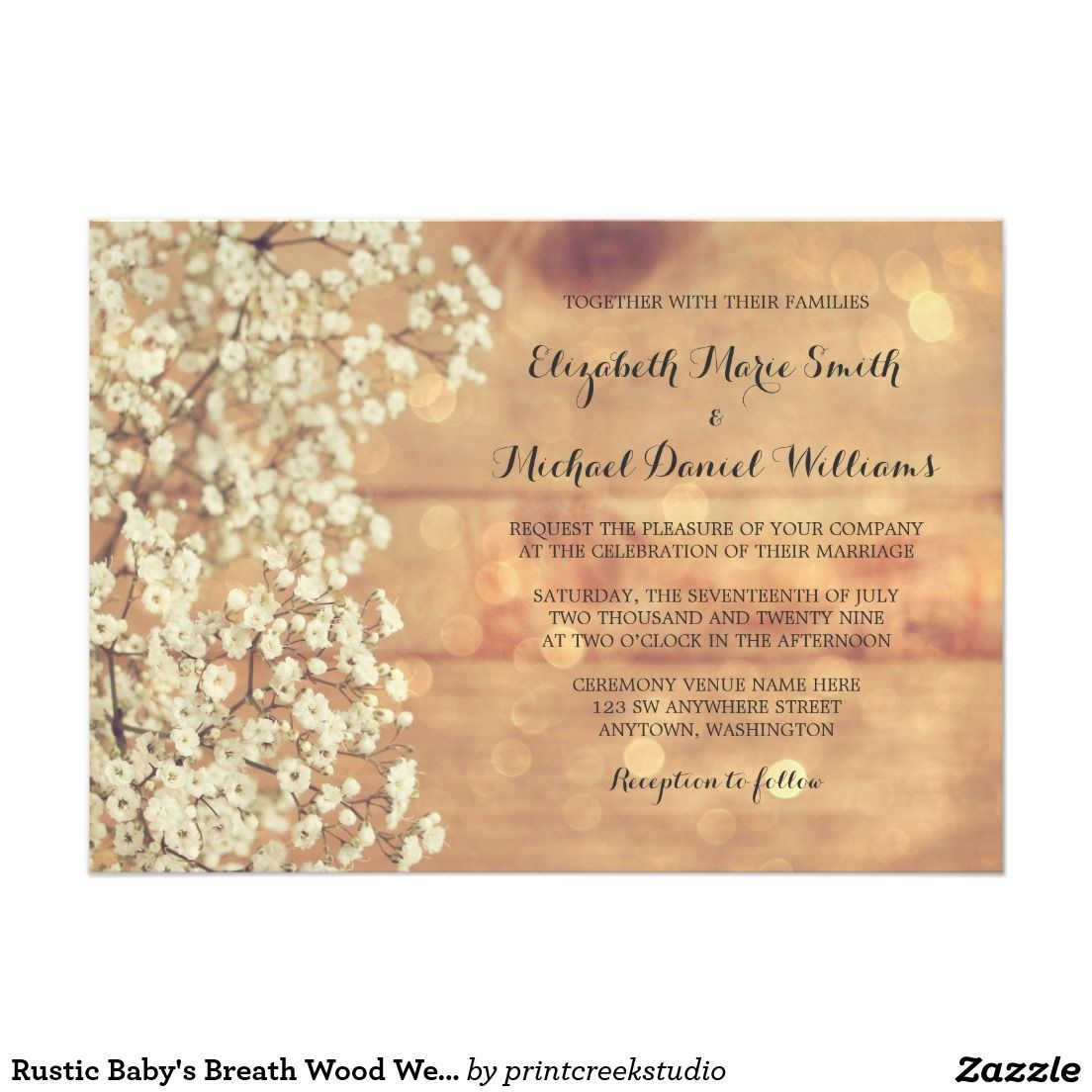 Rustic Baby S Breath Wood Wedding Invitations Vintage Wedding