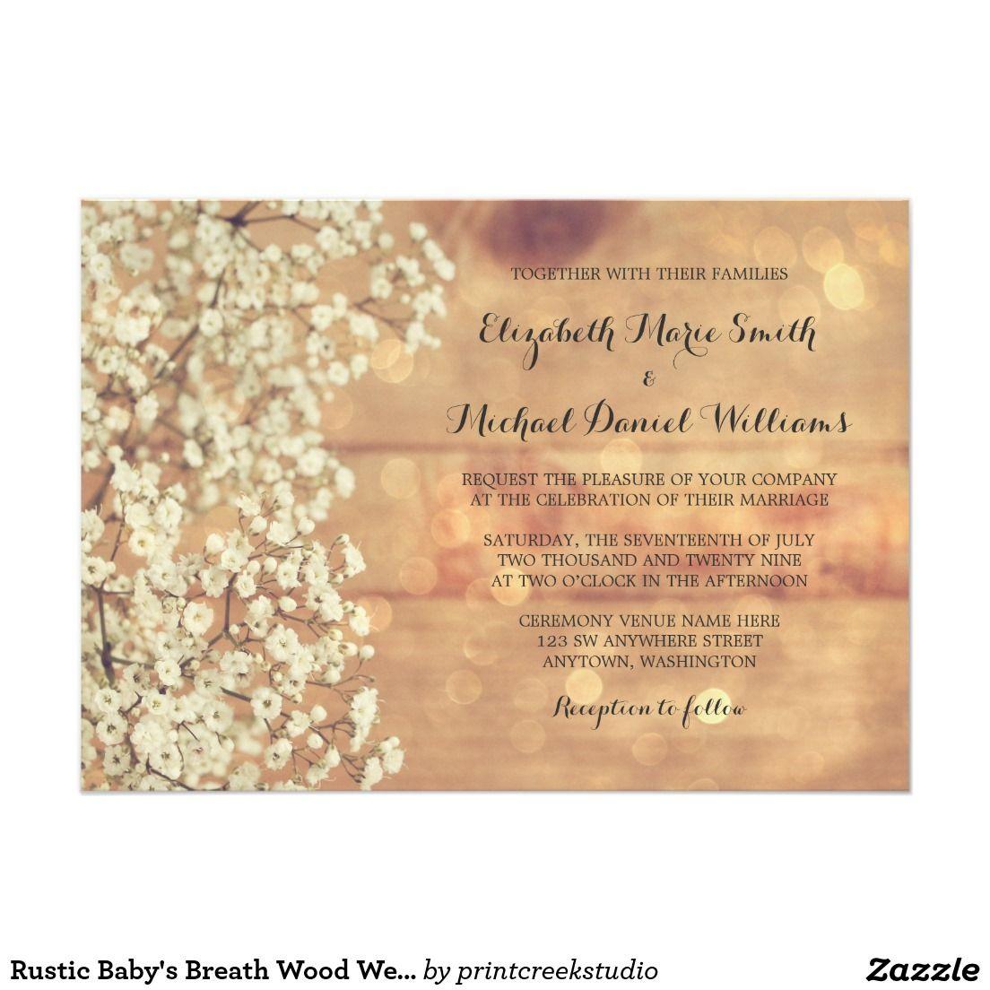 Rustic Baby S Breath Wood Wedding Invitations Zazzle Com Wood Wedding Invitations Wedding In The Woods Spring Wedding Invitations