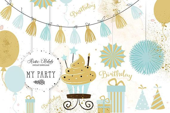 Party Clipart, Cupcake Clipart, Gifts Clipart, Party Design, Clipart, Kids party clipart,