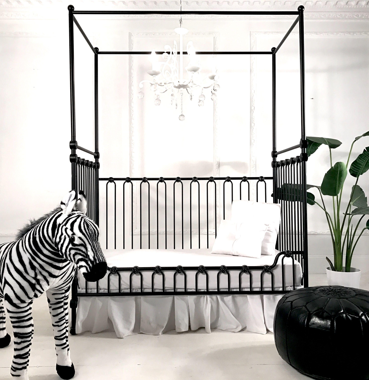 The Joy Canopy Crib Slays As A Toddler Bed Love The Black And White Nursery Crib Canopy White Nursery Girls Bedroom Modern