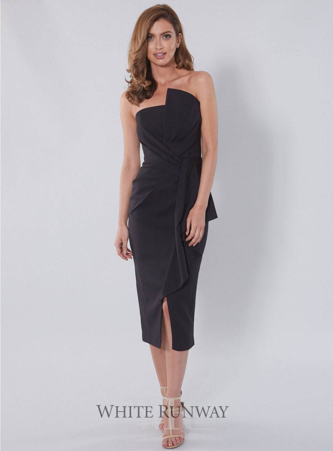 1481842f6d Stellina Midi Dress. A gorgeous cocktail length dress by Australian  designer Samantha Rose. A strapless style featuring 3D ruffle on the  neckline and waist.