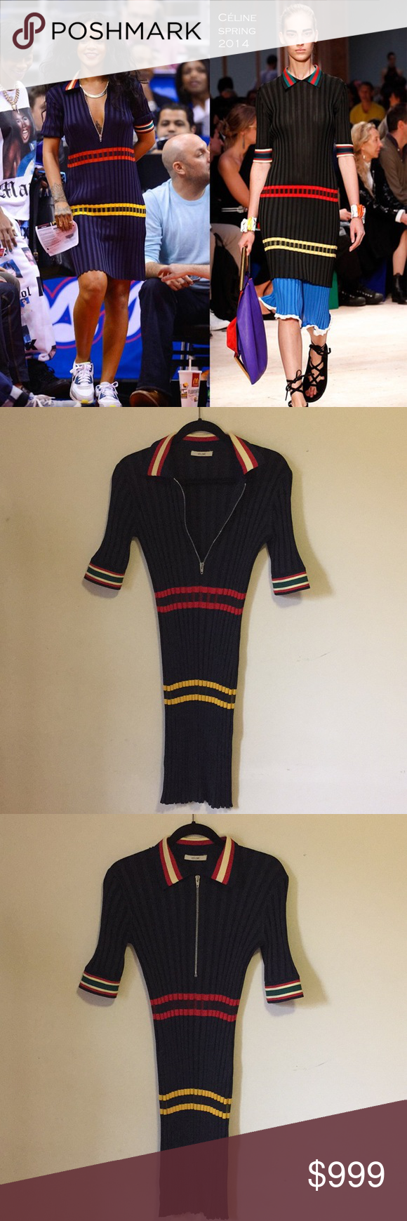 Céline striped rib knit zip front dress SS2014 Xs, phoebe