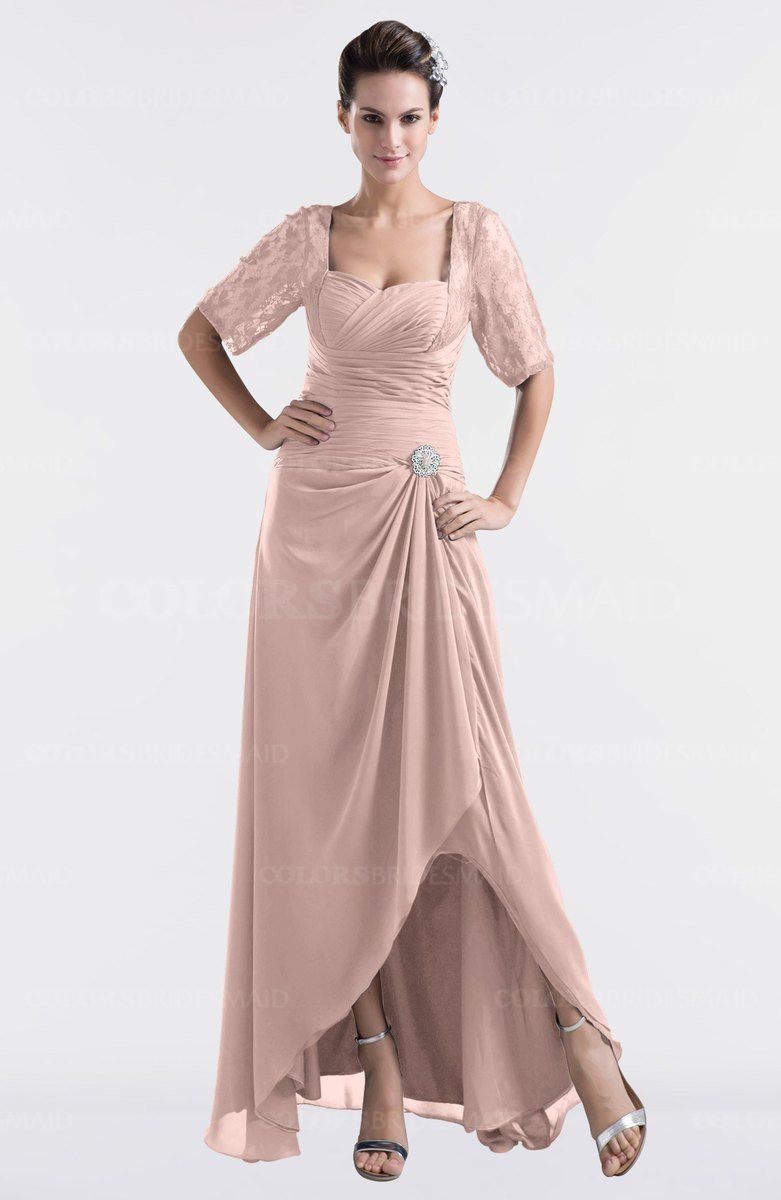 7e170392fc6a6 Dusty Rose Modest Sweetheart Short Sleeve Zip up Floor Length Plus Size  Bridesmaid Dresses at a