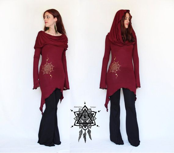 Wine Hooded tunic dress. Cowl neck dress. Festival dress. Pixie dress. Mid season dress. Elven clothing. Sacred Geometry, Winter dress.