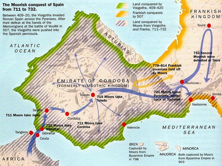Map Of Spain Over Time.The Moorish Conquest Of Spain From 711 To 732 Took Them 700 Years