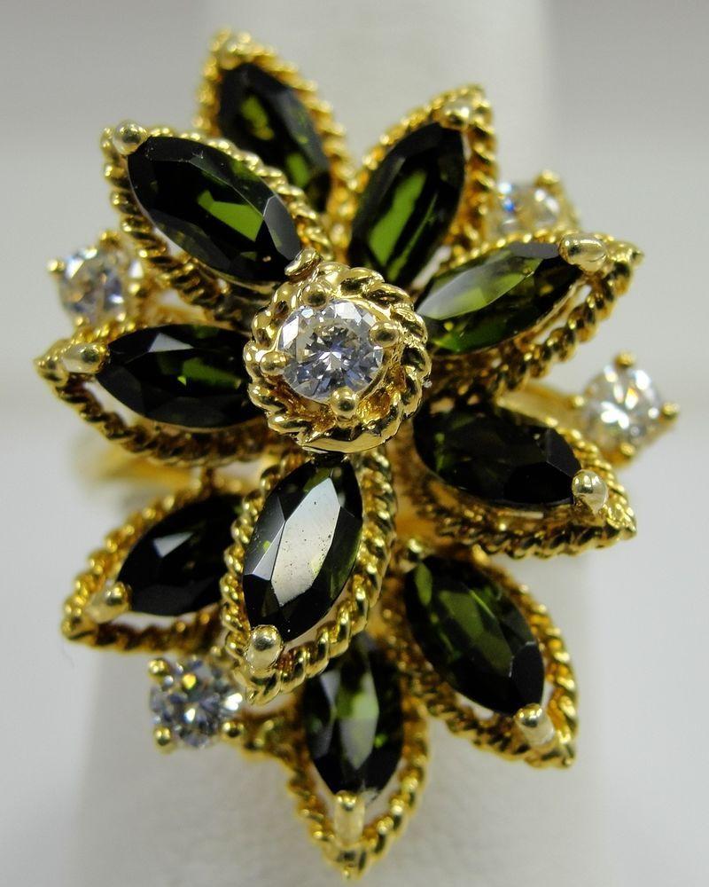 K yellow gold ring green tourmaline diamond flower cocktail estate