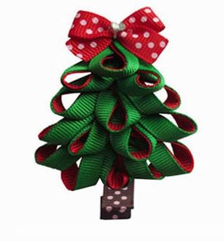 christmas tree hair bow clip ribbon