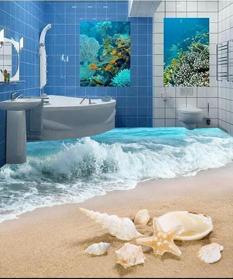 Custom Pvc Floor Wallpaper Murals Modern 3d Hd Photo Wall Paper Romantic 3 D Ocean Beach Living Room Bathroom Floor Wallpaper Floor Wallpaper Beach Living Room