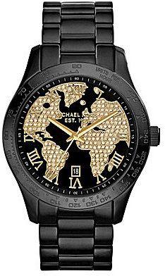 Michael Kors Layton Black IP Crystal World Map Dial Watch | Fossil watches  women, Michael kors layton, Watches jewelry