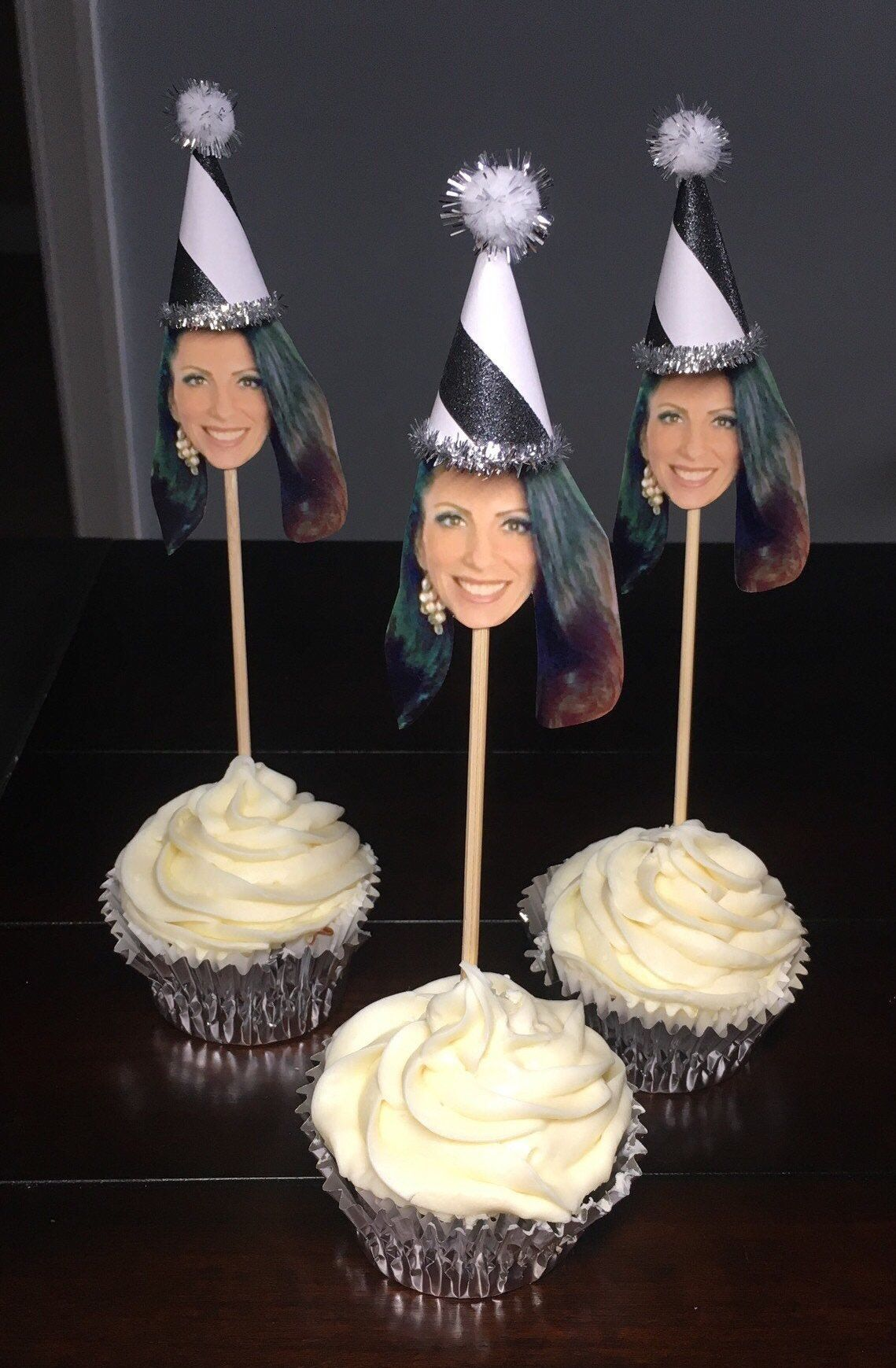 Photo Cupcake Toppers Personalized Face with 3D Black Party Hat Cupcake Decorations 30th Birthday for Him 20th 40th 50th 60th-6order