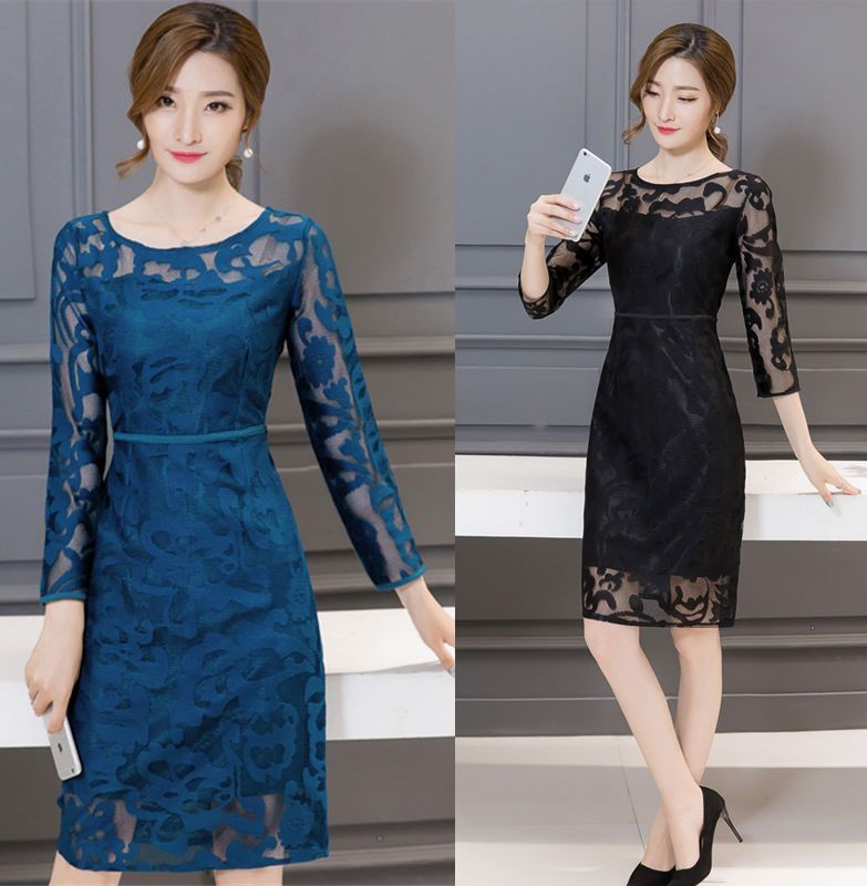 2016 Fashion Elegance Women'S Hollow Out Embroidery Lace Floral A-Line Dress