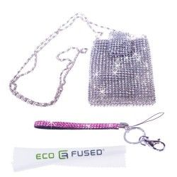 *BLING* Sparkling Rhinestone Silver Purse, Carrying Case, Phone Pouch / One Pink *Rhinestone* Short Lanyard for Apple iPhone 5, iPhone 4, iPhone 4s, iPhone 3, 3s, iPod Touch 4, 4th, iPod Touch 5, 5th, iPod Nano, Samsung Galaxy S3, S2, HTC one X : ECO-FUSED? Microfiber Cleaning Cloth 5.5:3.0: included (Fits Most SmartPhones)