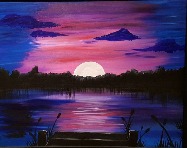 Sunset On The Dock Sunset Canvas Painting Easy Canvas Painting