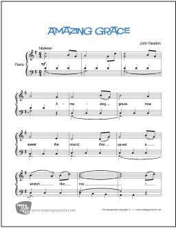 Amazing Grace\' by John Newton. Easy Piano Sheet Music. Print and ...