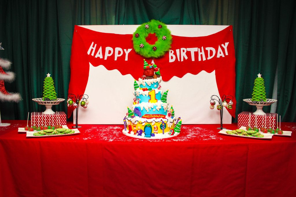 Christmas Themed 1st Birthday Party.The Grinch Who Stole Christmas Birthday Cake Luke S 2nd Bday