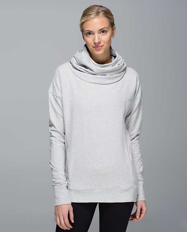 93c757209d95 Lululemon Stress Less Hoodie Heathered Light Grey Silver Spoon Size 8  98
